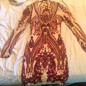 Main Strip dress in nude w/ burgundy sequins!